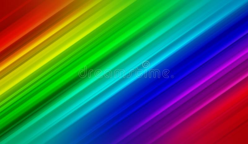 Rainbow abstract background, lines, diagonal, multicolored, rainbow colors, bright ,modern,blue,red,yellow, green, blur in motion stock illustration