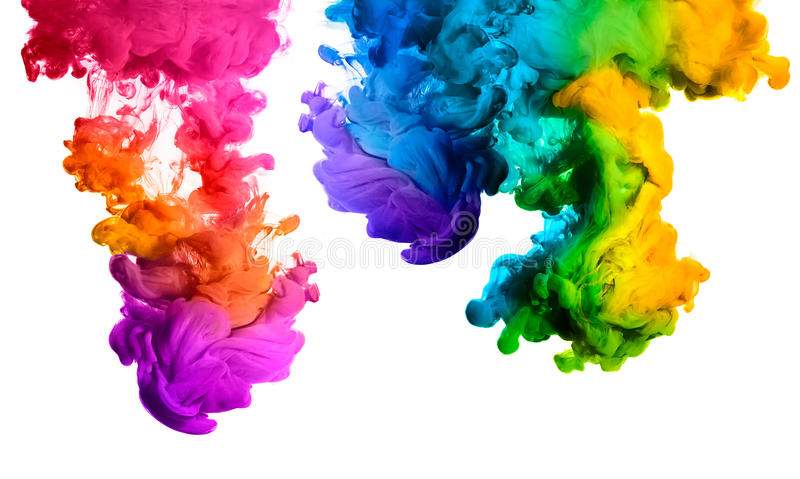 Download Rainbow Of Acrylic Ink In Water. Color Explosion Stock Image - Image of background, orange: 55765093