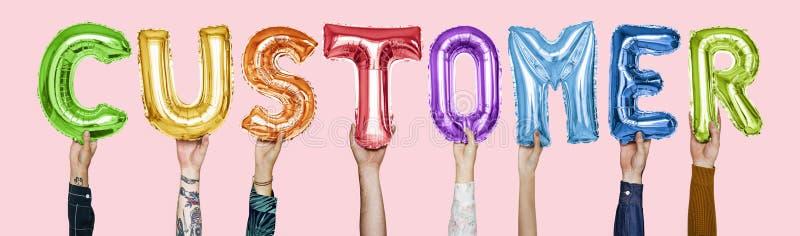 Rainbow alphabet balloons forming the word customer royalty free stock photos
