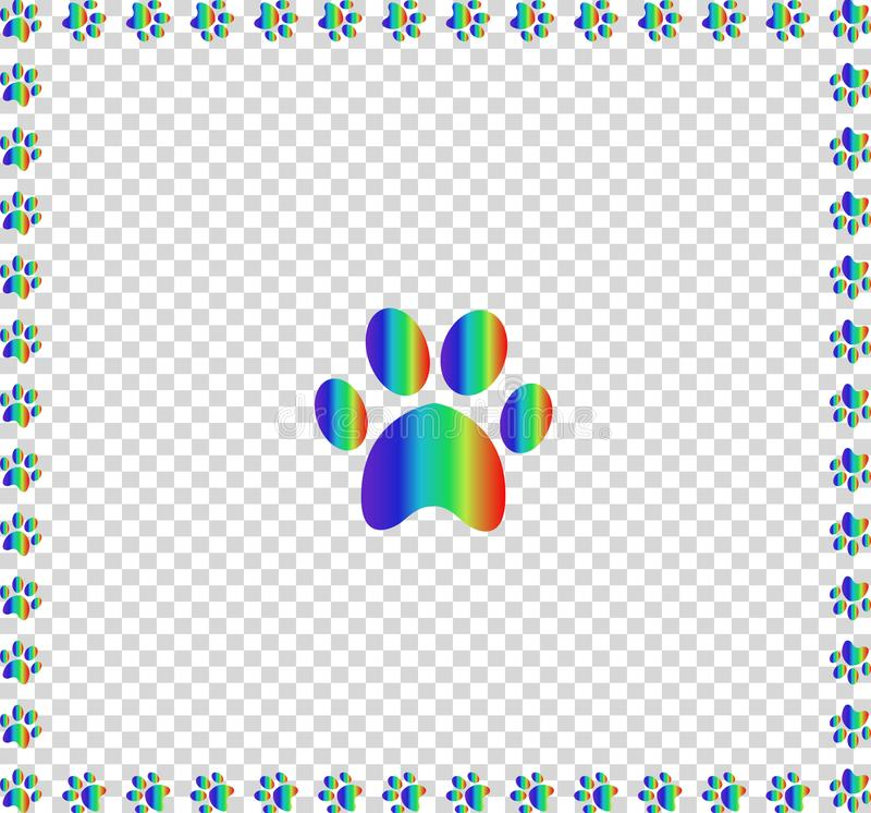 Free Rainbow Animal S Pawprint Bordered With Multicolored Frame Royalty Free Stock Images - 111944729
