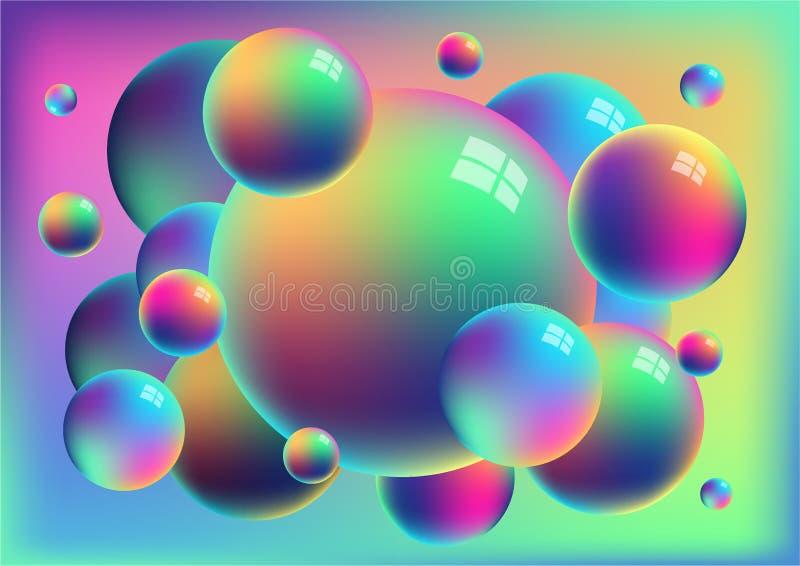 Rainbow anodized titanium balls background royalty free illustration