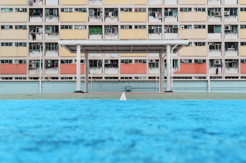 Rainbow apartment famous hipster travel place in Choi Hung estate stock photos