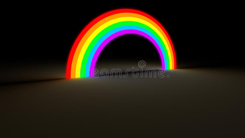 Rainbow arc glowing in dark color light vector illustration