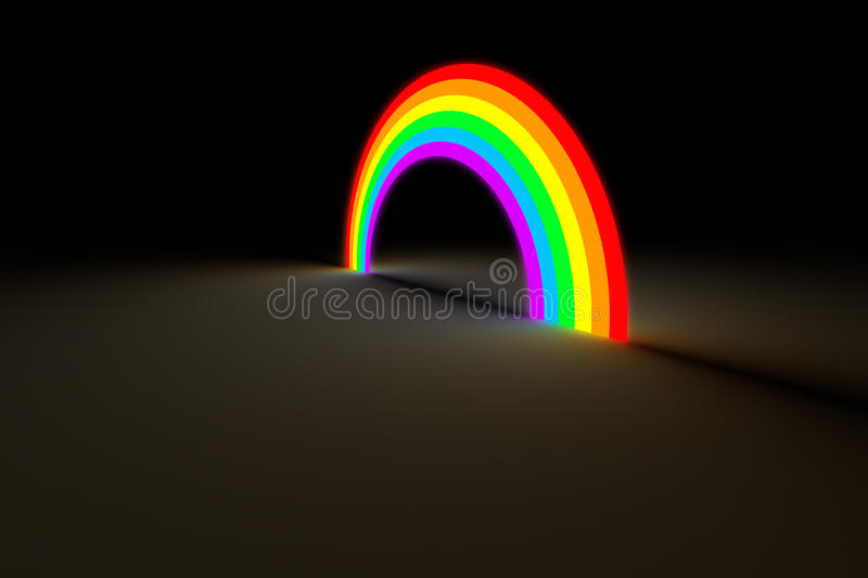 Rainbow arc glowing in dark color light royalty free illustration