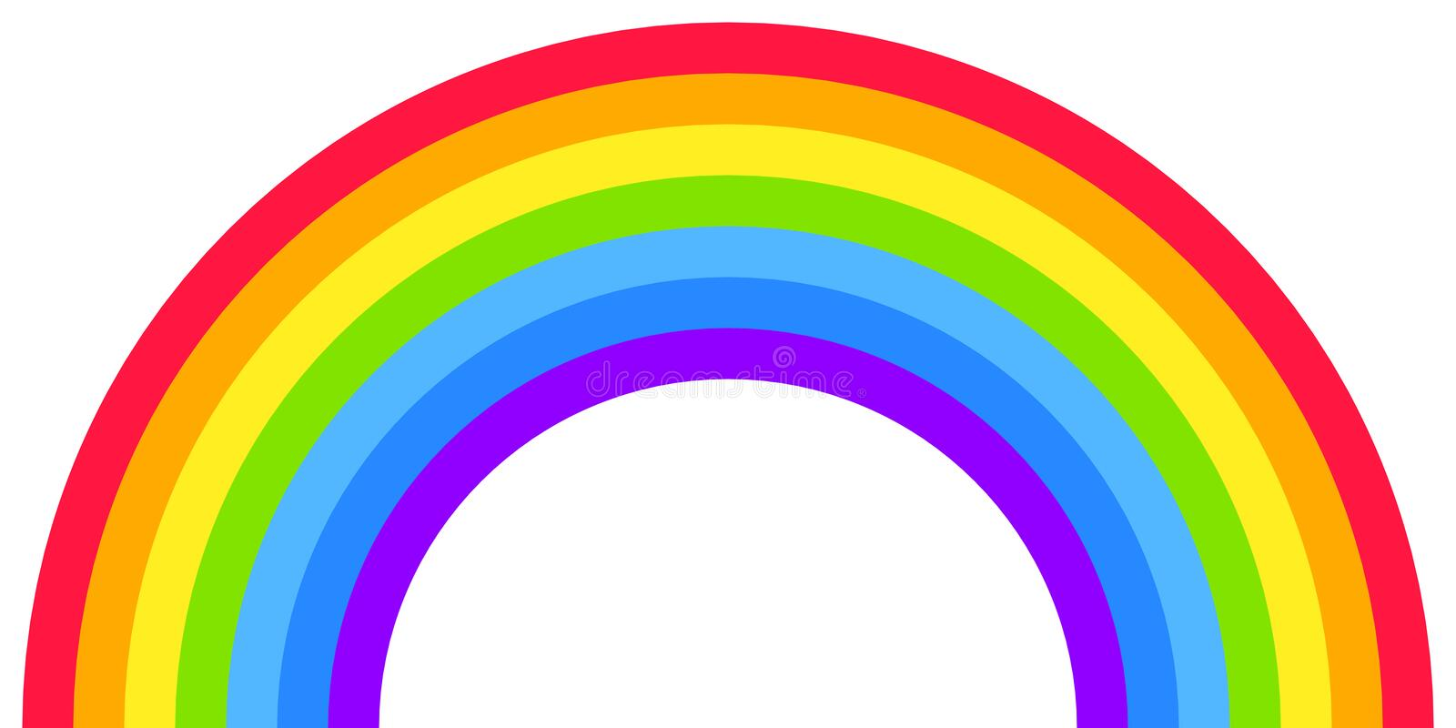 Rainbow arc shape, half circle, bright spectrum colors, colorful striped pattern. Vector illustration. Rainbow icon royalty free illustration