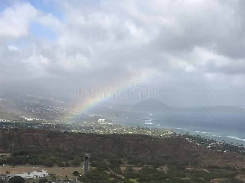 Rainbow from Diamond Head Crater stock images