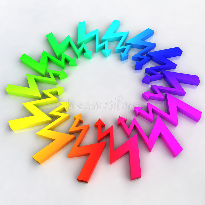 Free Rainbow Arrows Zigzag Circle Composition Royalty Free Stock Photography - 32507027