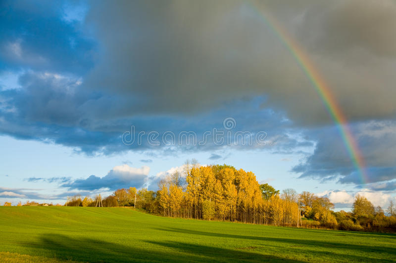 Download Rainbow in autumn stock photo. Image of dramatic, weather - 21755862