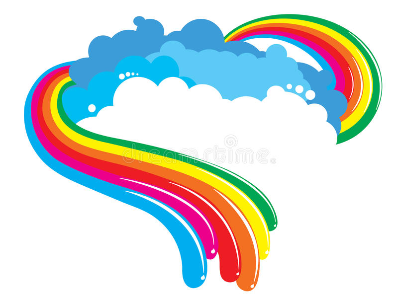 Rainbow background. Beautiful rainbow background with clouds