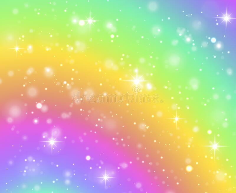 rainbow background fantasy unicorn galaxy fairy stars pastel sky bokeh iridescent hologram texture glitter effect 173577640