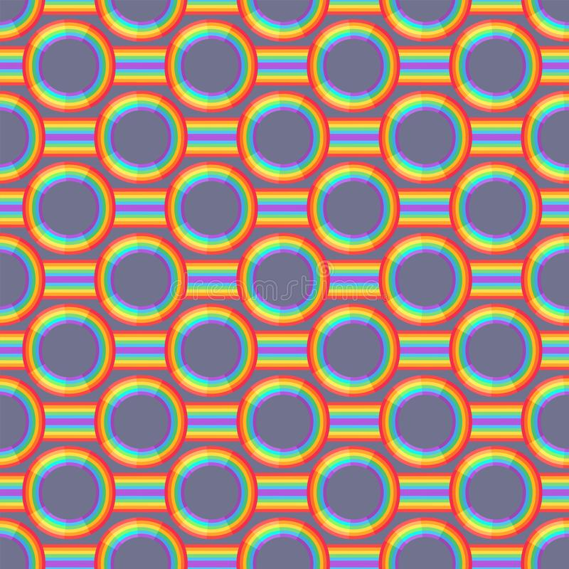 Rainbow background. Retro seamless pattern the 50s and 60s inspired. Seamless abstract Vintage backdrop in sixties style. Vector illustration stock illustration