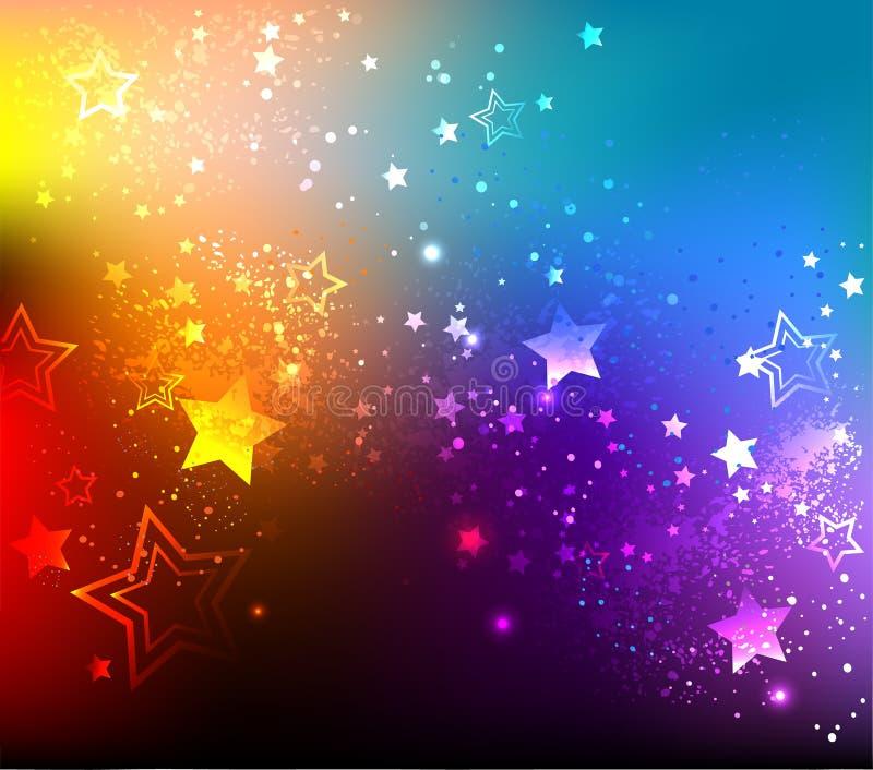 Rainbow background with stars vector illustration