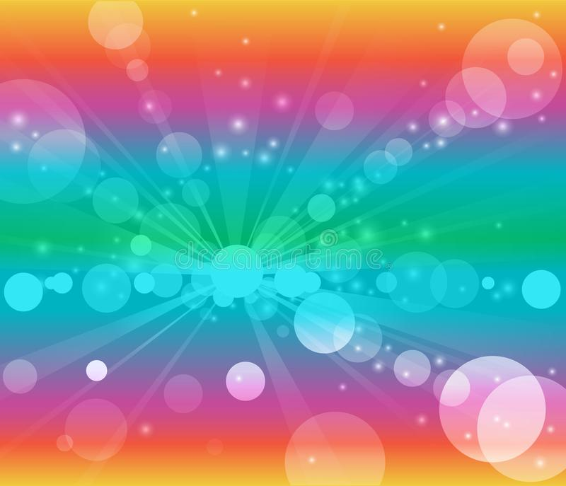 Rainbow background white bubbles or bokeh lights royalty free illustration