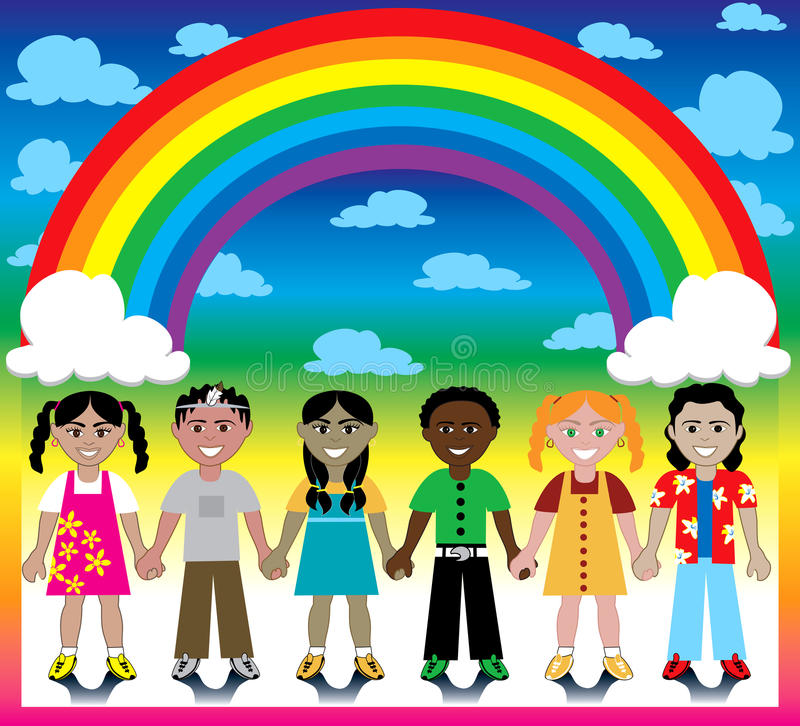 Free Rainbow Background With Kids Stock Images - 12748444