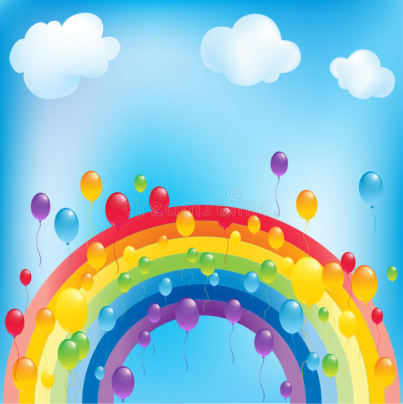 Rainbow and balloons. Background with colorful balloons and rainbow royalty free illustration