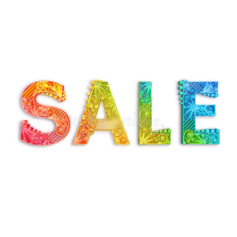 Rainbow banner with Sale label. Vector illustration. White background stock illustration