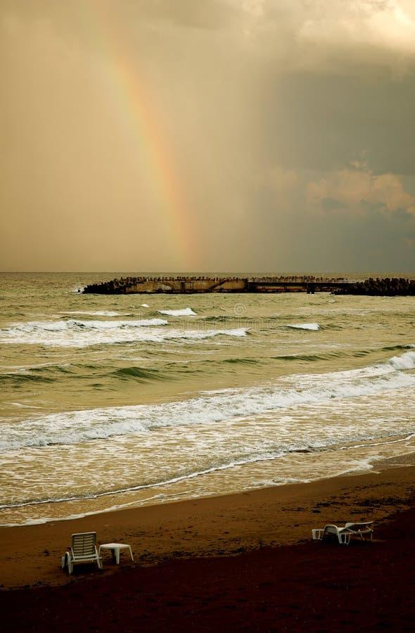 Rainbow on beach #2 royalty free stock photography