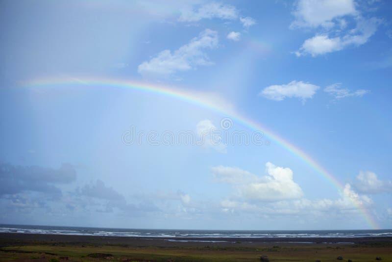 Rainbow on beach, Diveagar, Maharashtra stock photos