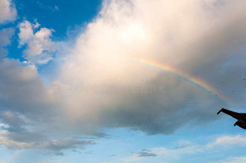 Rainbow in thebeautiful sky stock image