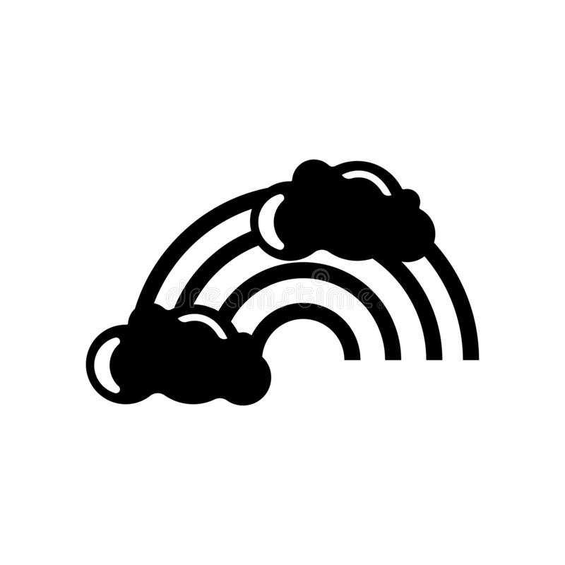 Rainbow behind a cloud icon vector sign and symbol isolated on w stock illustration
