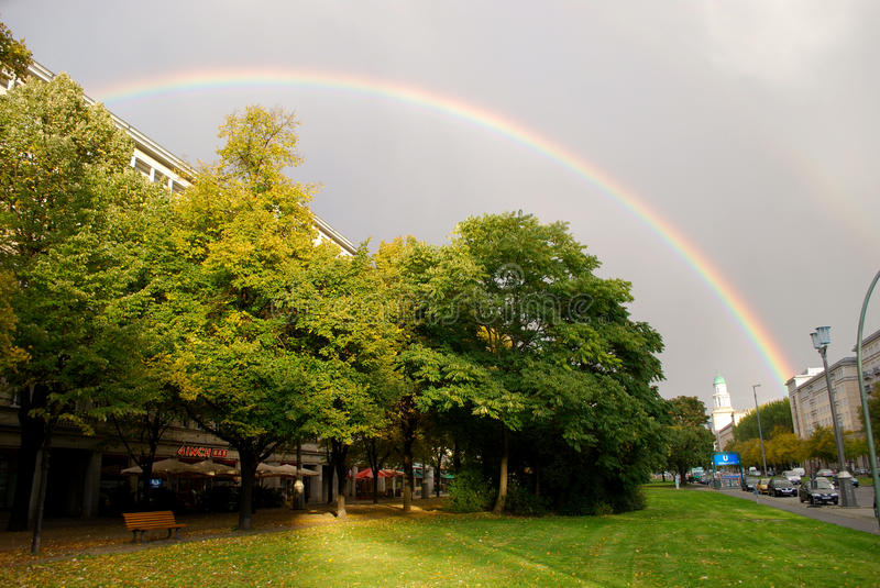 Rainbow in Berlin stock image