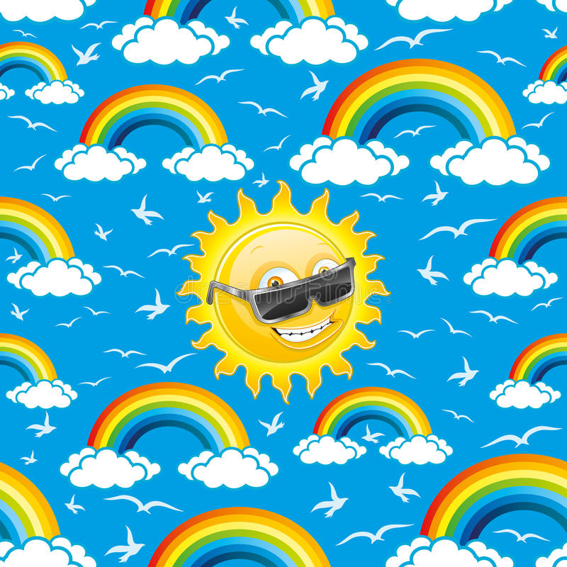 Rainbow, birds and sun. Pattern for seamless background royalty free illustration