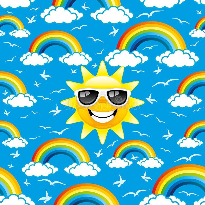 Rainbow, birds and sun. Pattern for seamless background stock illustration