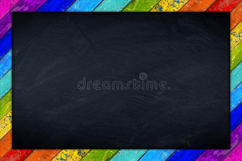 Rainbow blackboard wooden frame royalty free stock image