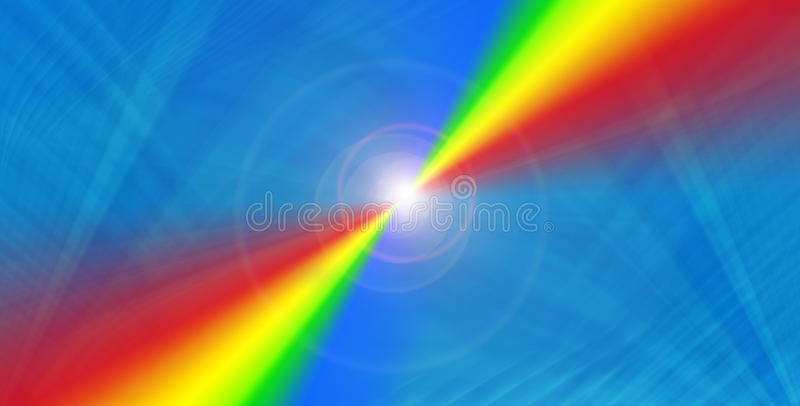 Rainbow on blue stock illustration