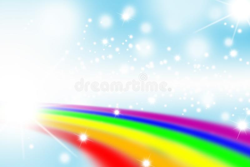 Rainbow on blue background, rainbow backgrounds abstract, abstract background royalty free illustration