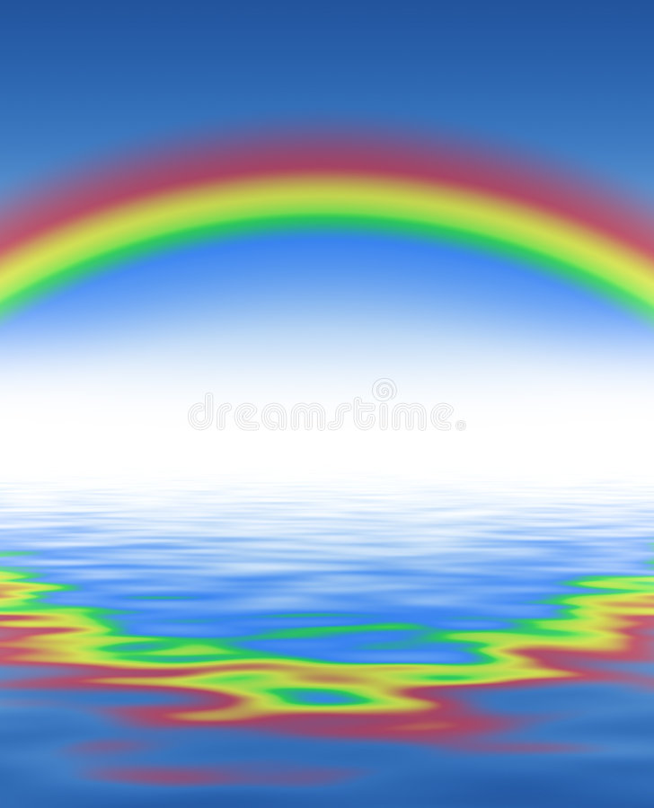 Rainbow and blue water... With waves vector illustration
