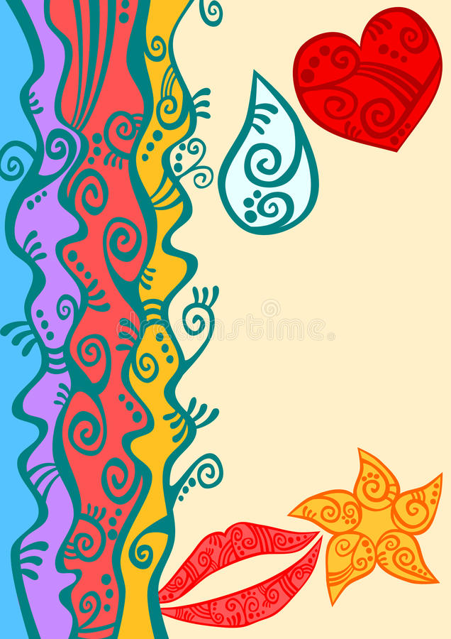 Rainbow border beach greeting card royalty free stock photography