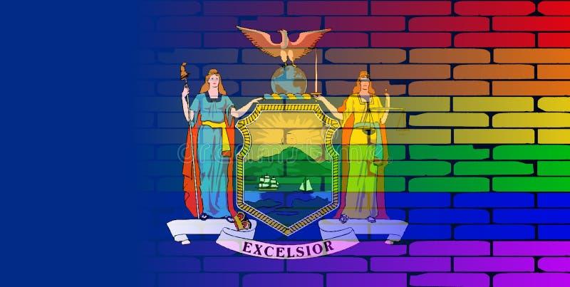 Rainbow Brick Wall New York State Flag vector illustration