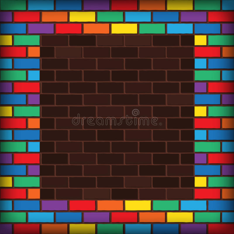Rainbow bricks. Bricks laying and painted with rainbow colors vector illustration