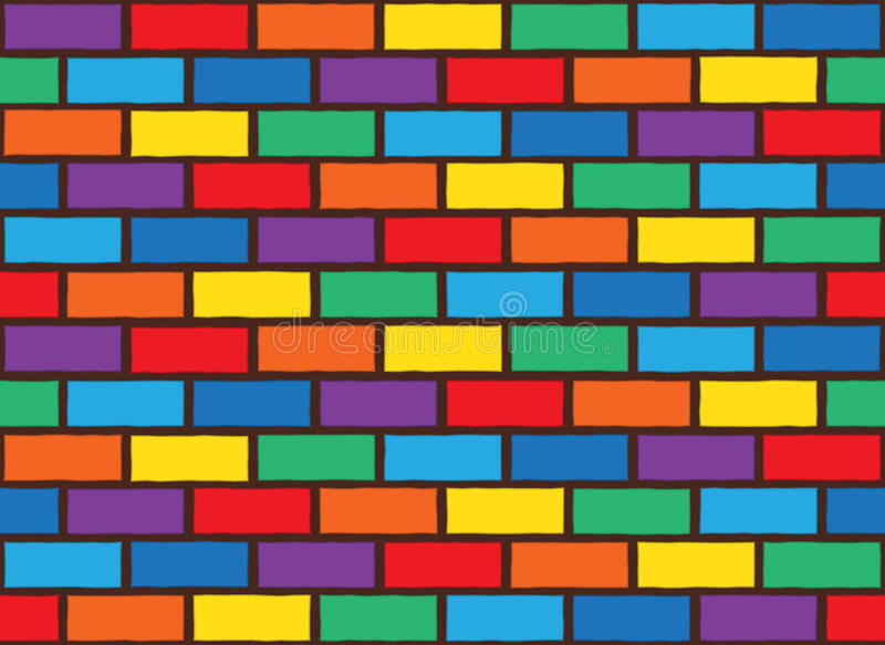 Rainbow bricks pattern. Bricks laying and painted with rainbow colors. seamless pattern stock illustration