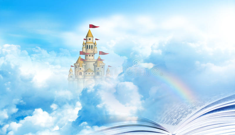 Rainbow bridge from Bible to heaven castle. Bible is a book to heaven