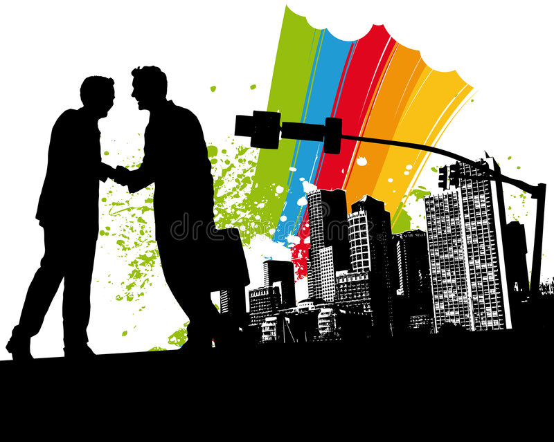 Download Rainbow Business Handshake stock vector. Image of partnership - 4400232