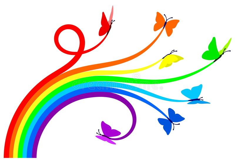Rainbow butterflies vector illustration