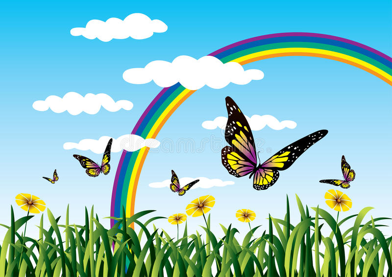Rainbow and butterflies. Butterflies in a clear nature with rainbow royalty free illustration