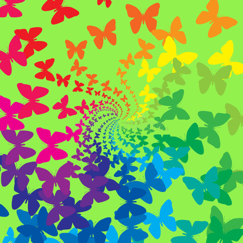 Rainbow butterflies royalty free illustration