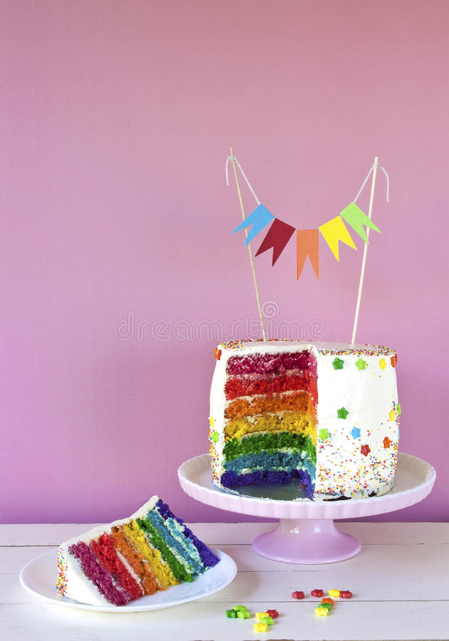 Rainbow cake royalty free stock images