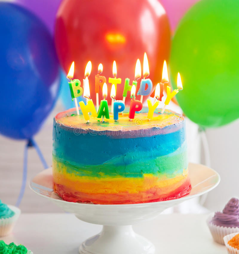 Remarkable Rainbow Cake Cupcakes Decorated Birthday Candles Stock Photos Funny Birthday Cards Online Chimdamsfinfo