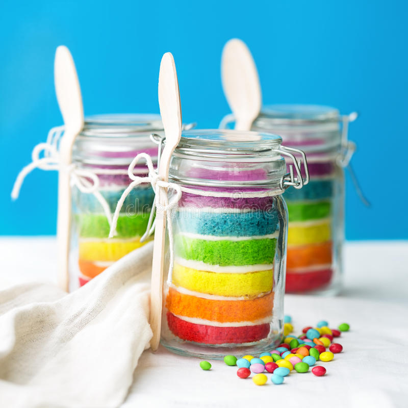 Rainbow cake in a jar royalty free stock photos