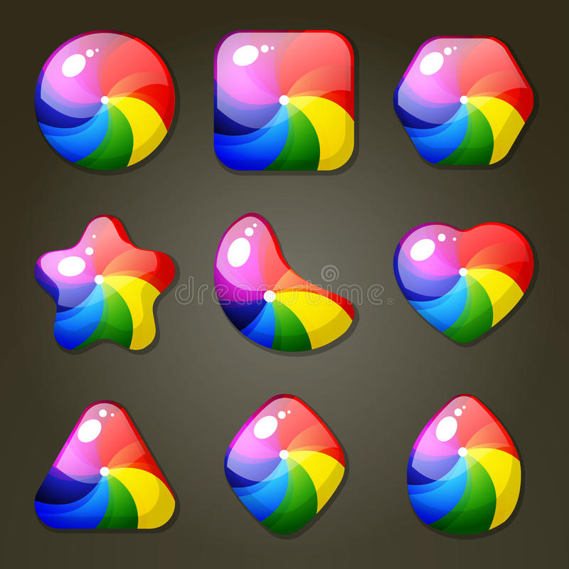 Rainbow Candies For Match Three Game. Set of rainbow candies for match three game stock illustration