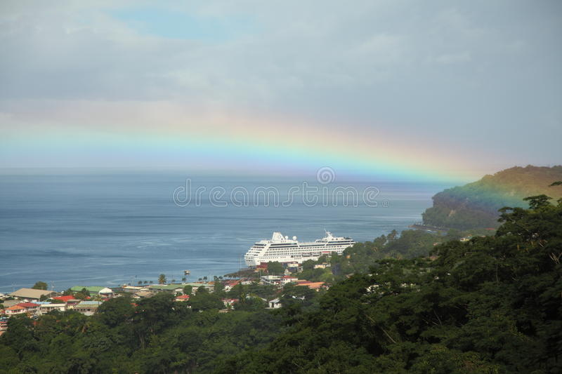 Rainbow in Caribbean Islands royalty free stock photos