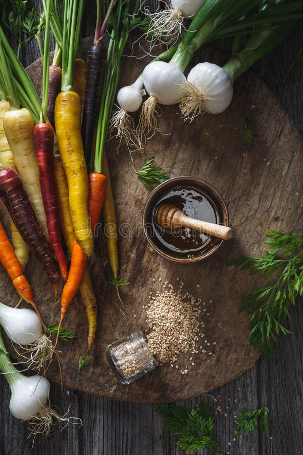 Rainbow Carrots, Spring Onions and Honey Marinade for Cooking. stock image