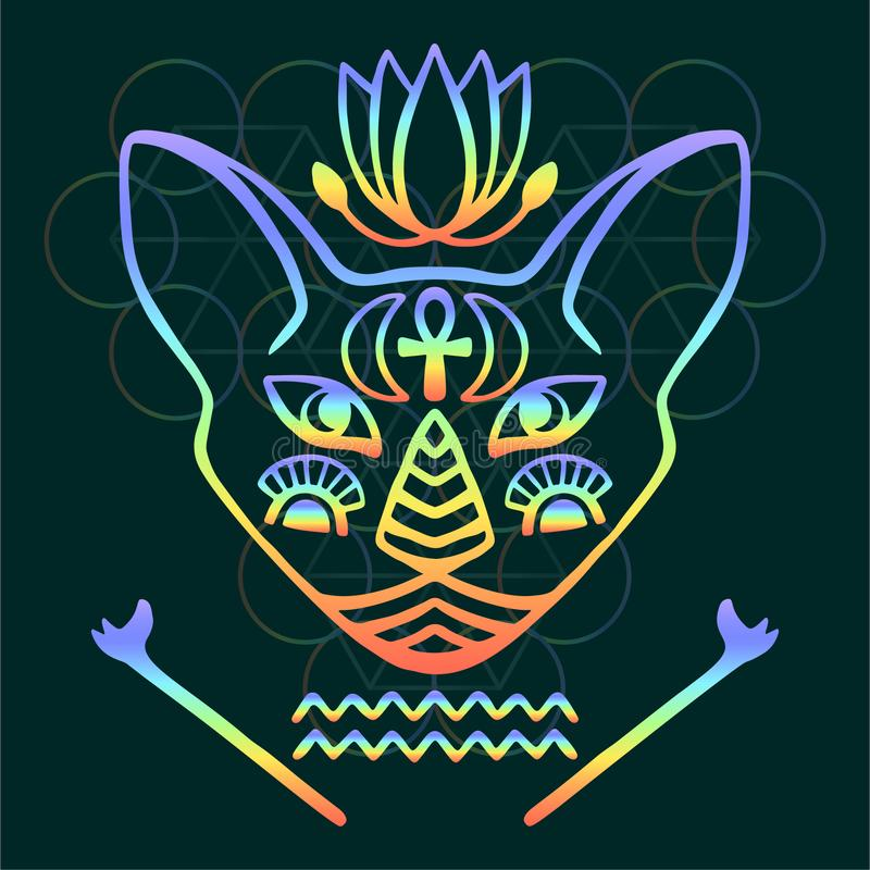 Rainbow cat face vector Sacred animal of ancient Egypt, mystical cat face with Egyptian hieroglyphic symbols Hand drawn Egyptian c. Rainbow cat face vector royalty free illustration
