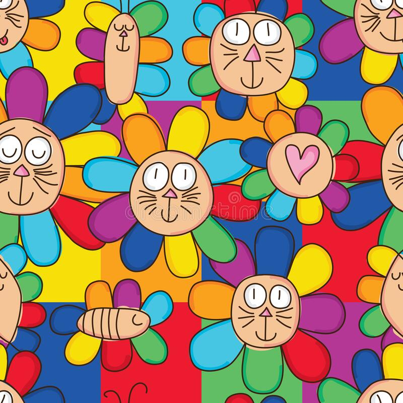 Free Rainbow Cat Insect Flower Seamless Pattern Royalty Free Stock Images - 183308239