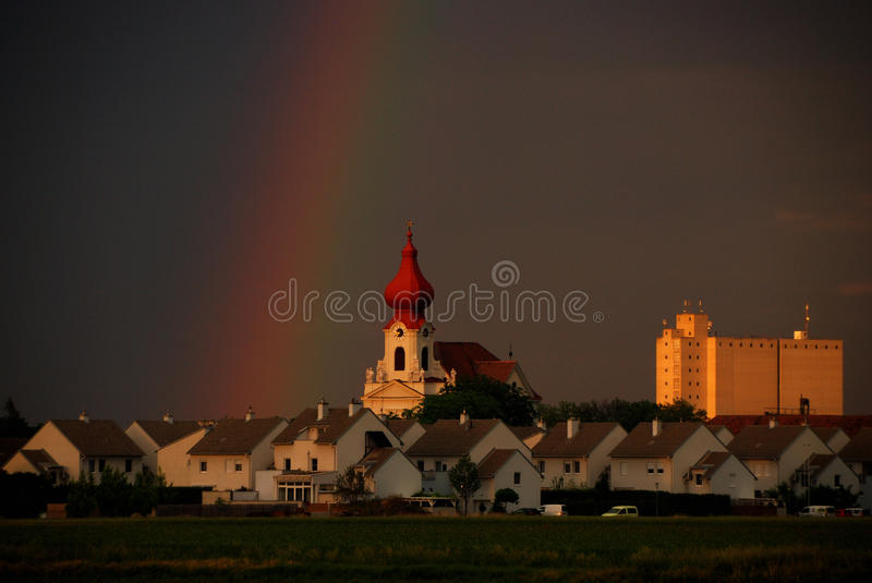 Download Rainbow church large view stock photo. Image of grass - 28979212