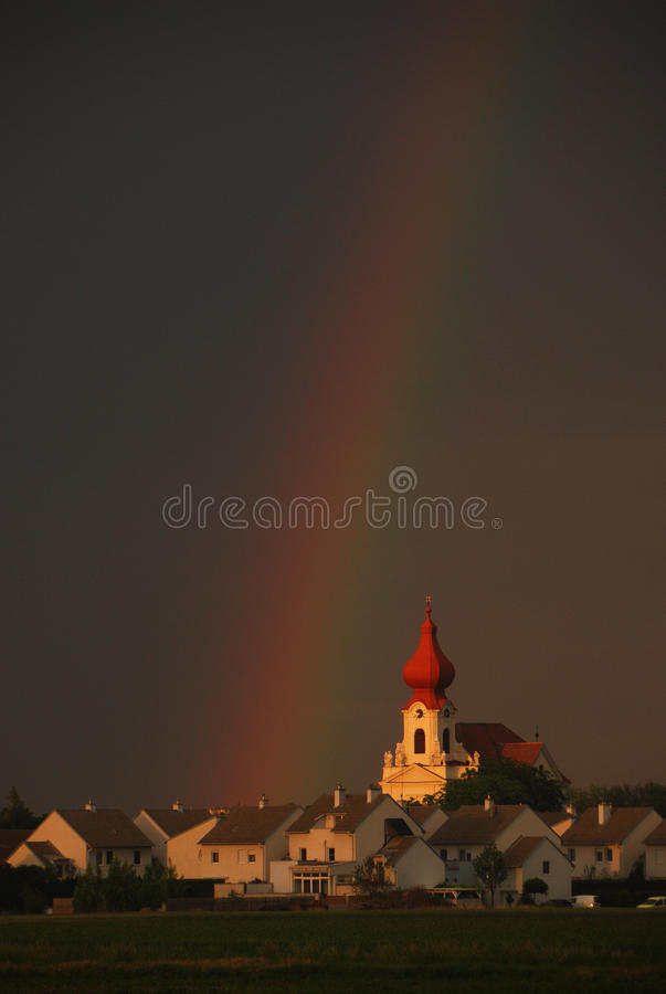 Download Rainbow church portrait stock image. Image of cloudy - 28979275
